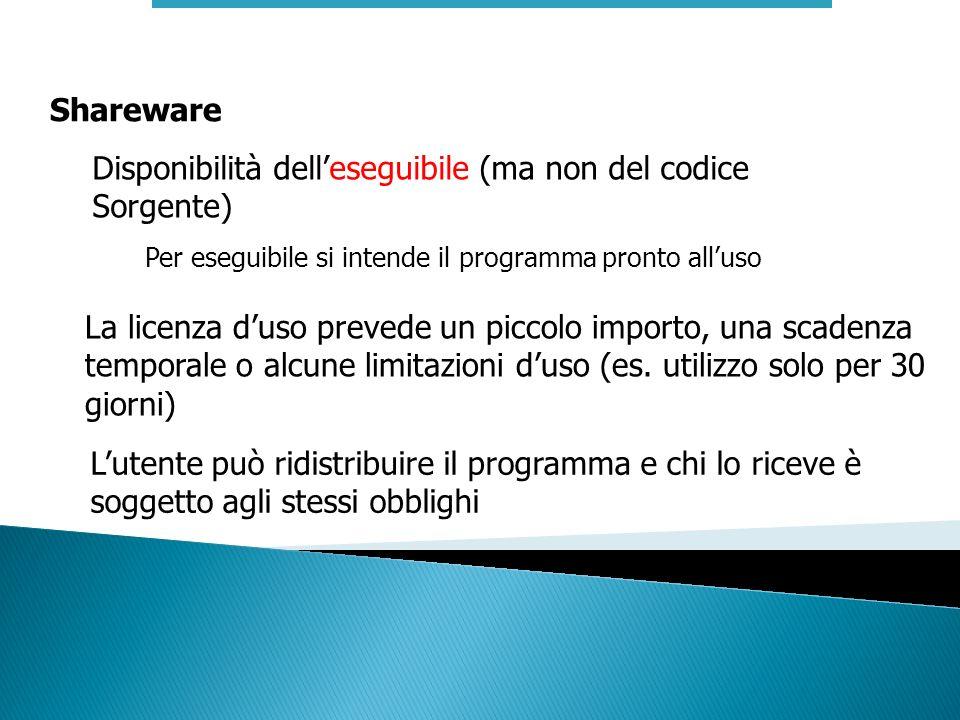 Shareware Disponibilità delleseguibile (ma non del codice Sorgente) La licenza duso prevede un piccolo importo, una scadenza temporale o alcune limita