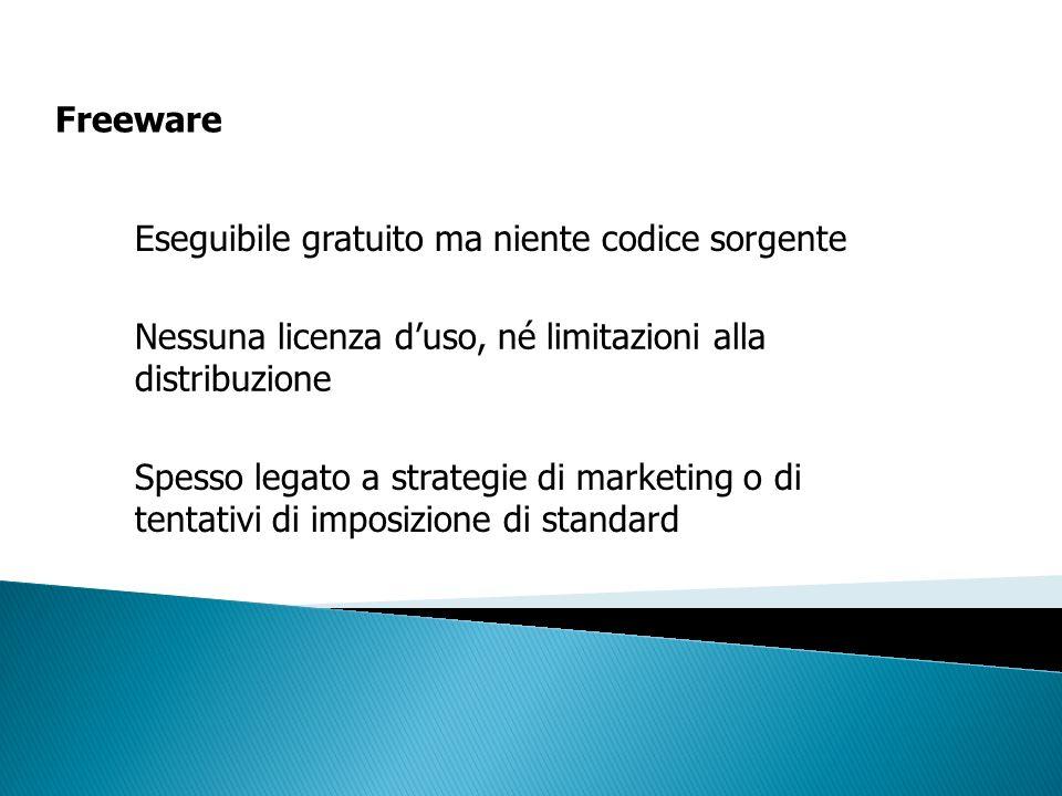 Freeware Eseguibile gratuito ma niente codice sorgente Nessuna licenza duso, né limitazioni alla distribuzione Spesso legato a strategie di marketing