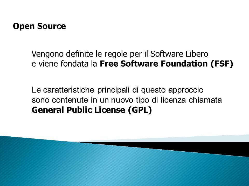 Open Source Vengono definite le regole per il Software Libero e viene fondata la Free Software Foundation (FSF) Le caratteristiche principali di quest