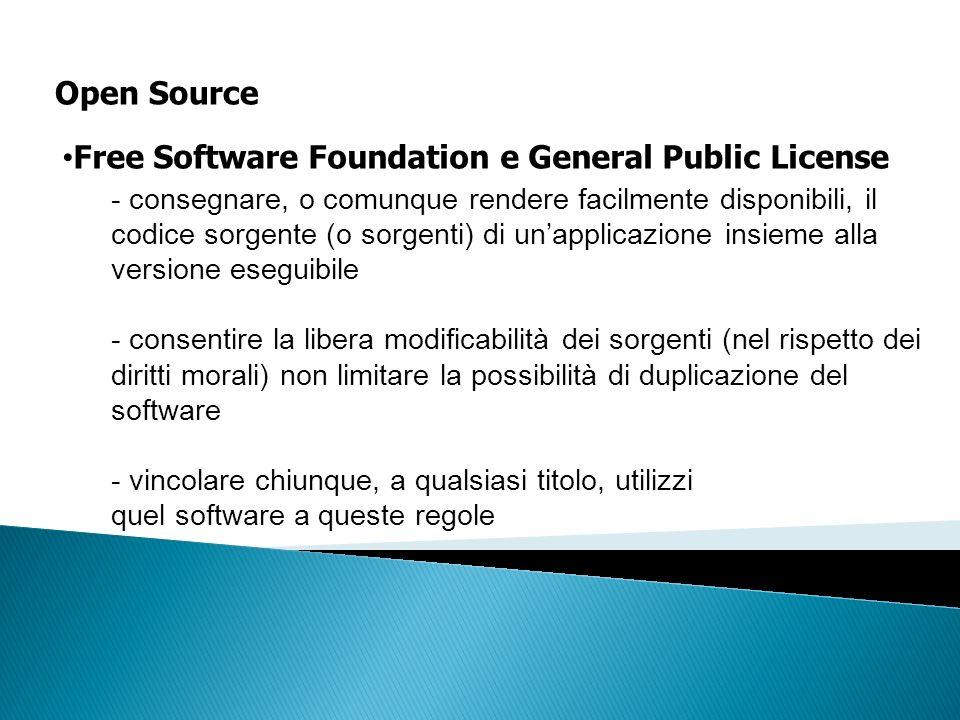 Open Source - consegnare, o comunque rendere facilmente disponibili, il codice sorgente (o sorgenti) di unapplicazione insieme alla versione eseguibil
