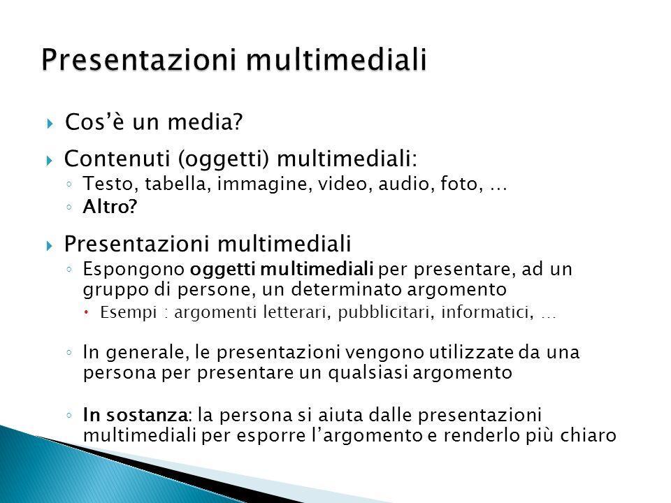 Cosè un media? Presentazioni multimediali Espongono oggetti multimediali per presentare, ad un gruppo di persone, un determinato argomento Esempi : ar