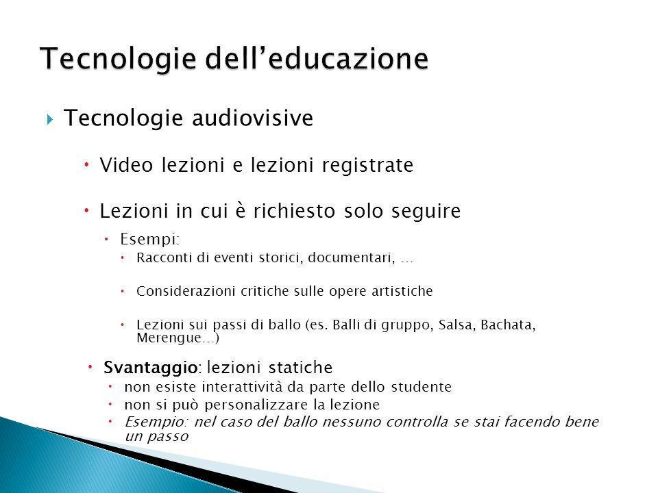 Tecnologie audiovisive Video lezioni e lezioni registrate Lezioni in cui è richiesto solo seguire Svantaggio: lezioni statiche non esiste interattivit