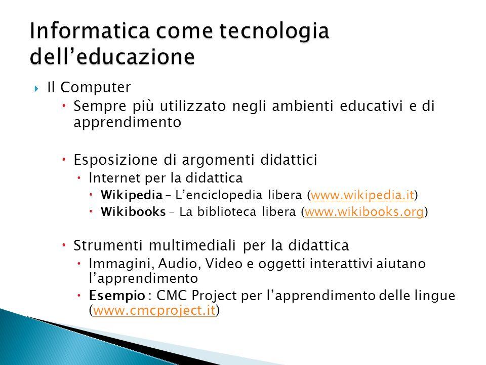 Il Computer Sempre più utilizzato negli ambienti educativi e di apprendimento Esposizione di argomenti didattici Internet per la didattica Wikipedia –