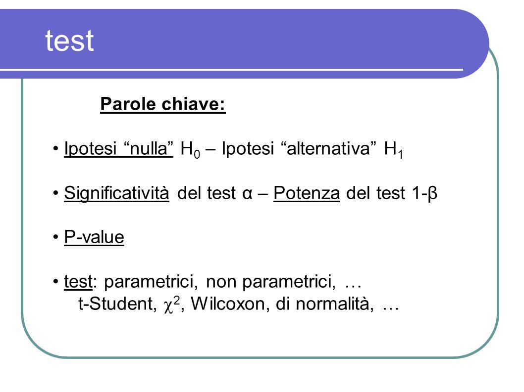 test Parole chiave: Ipotesi nulla H 0 – Ipotesi alternativa H 1 Significatività del test α – Potenza del test 1-β P-value test: parametrici, non param