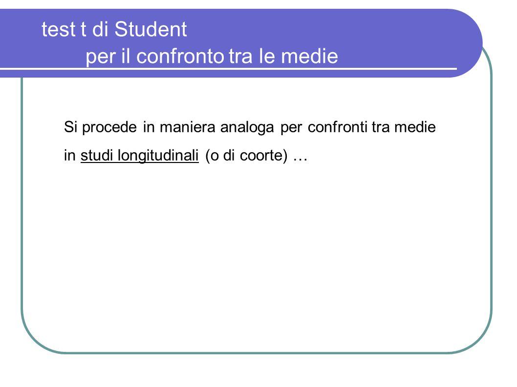 test t di Student per il confronto tra le medie Si procede in maniera analoga per confronti tra medie in studi longitudinali (o di coorte) …
