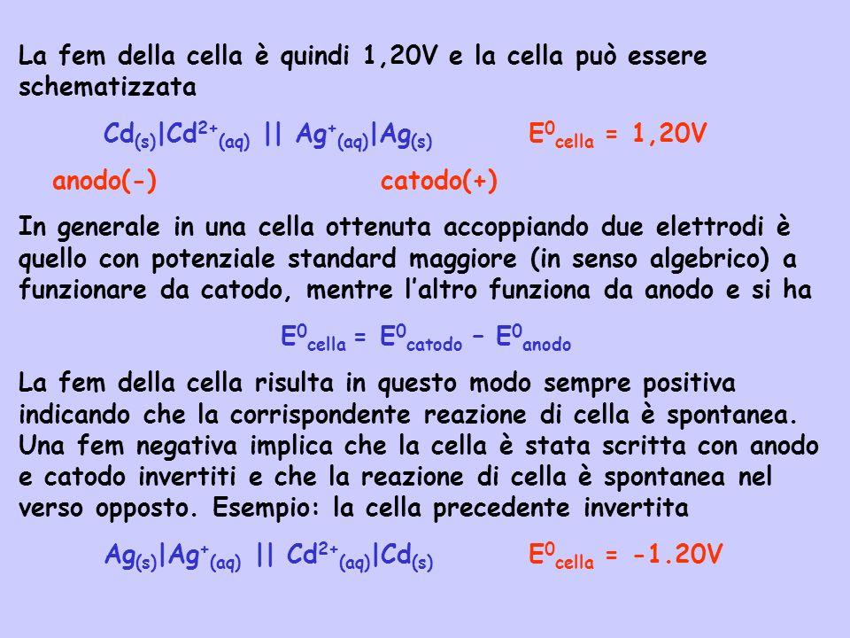 La fem della cella è quindi 1,20V e la cella può essere schematizzata Cd (s) |Cd 2+ (aq) || Ag + (aq) |Ag (s) E 0 cella = 1,20V anodo(-) catodo(+) In