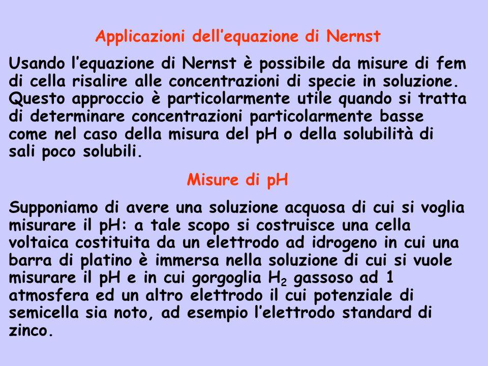 Applicazioni dellequazione di Nernst Usando lequazione di Nernst è possibile da misure di fem di cella risalire alle concentrazioni di specie in soluz