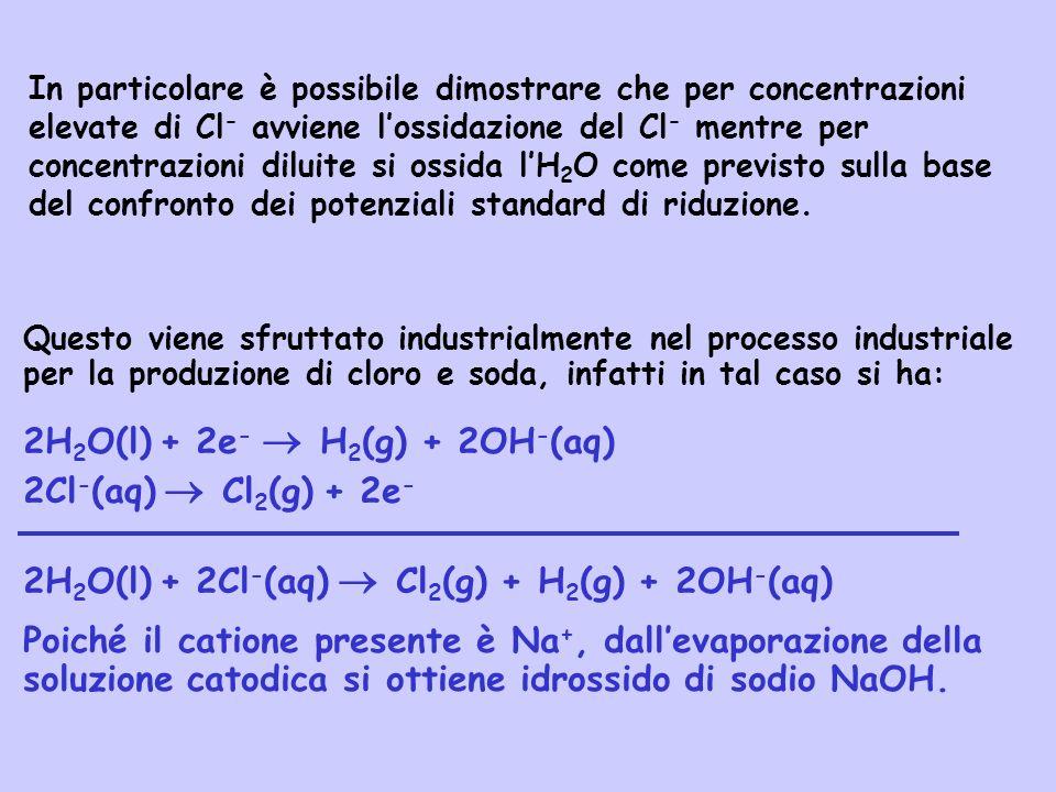 Questo viene sfruttato industrialmente nel processo industriale per la produzione di cloro e soda, infatti in tal caso si ha: 2H 2 O(l) + 2e - H 2 (g)
