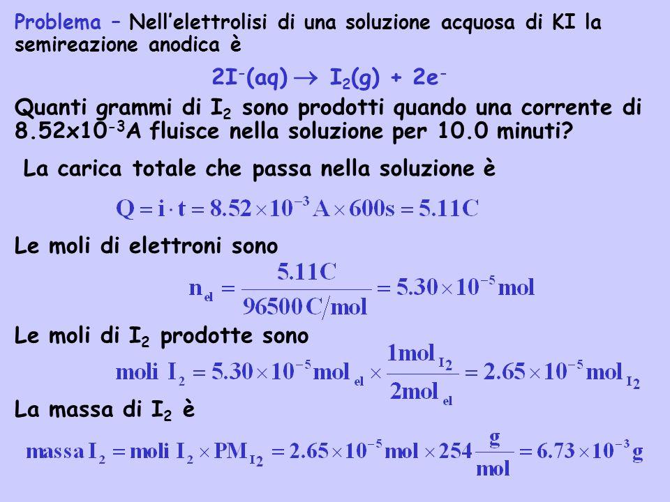 Problema – Nellelettrolisi di una soluzione acquosa di KI la semireazione anodica è 2I - (aq) I 2 (g) + 2e - Quanti grammi di I 2 sono prodotti quando