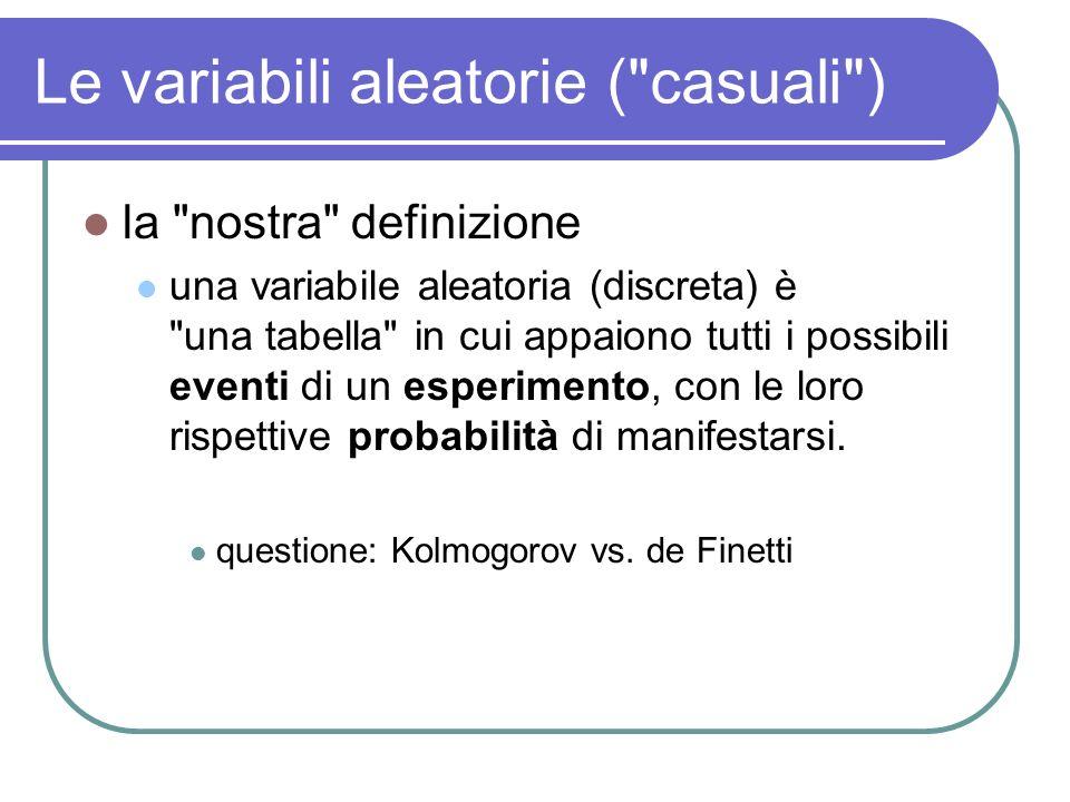 Le variabili aleatorie discrete TestaCroce 0.5 123456 1/6