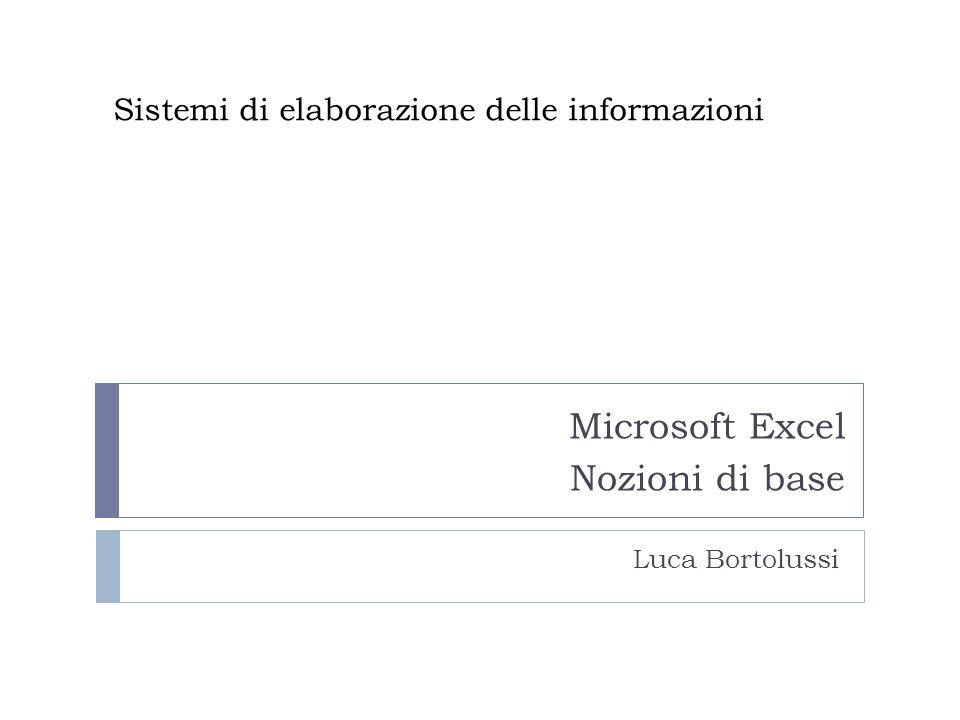 Sistemi di elaborazione delle informazioni Microsoft Excel Nozioni di base Luca Bortolussi
