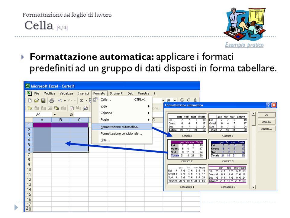 Formattazione del foglio di lavoro Cella [4/4] Formattazione automatica: applicare i formati predefiniti ad un gruppo di dati disposti in forma tabell