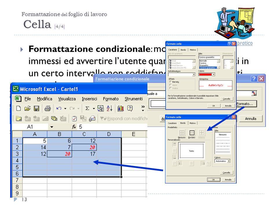 Formattazione del foglio di lavoro Cella [4/4] Formattazione condizionale: monitorare i dati immessi ed avvertire lutente quando i valori digitati in