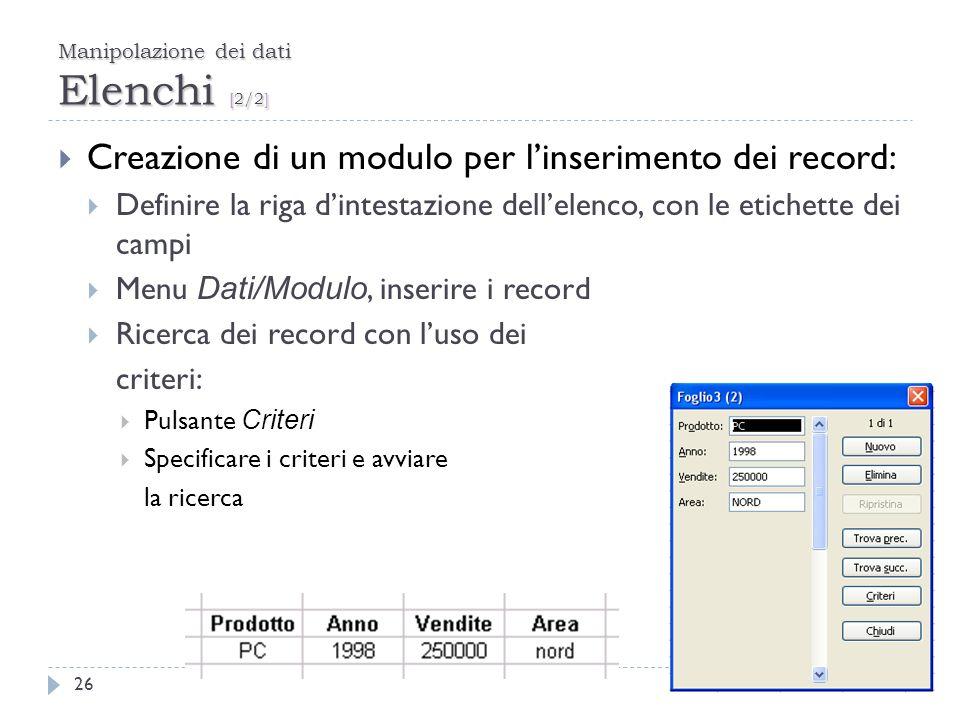 Manipolazione dei dati Elenchi [2/2] 26 Creazione di un modulo per linserimento dei record: Definire la riga dintestazione dellelenco, con le etichett