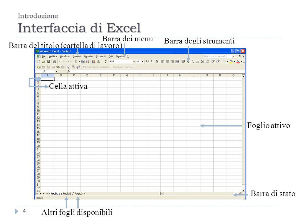 Introduzione Interfaccia di Excel 4 Barra di stato Barra degli strumenti Altri fogli disponibili Barra del titolo (cartella di lavoro) Barra dei menu