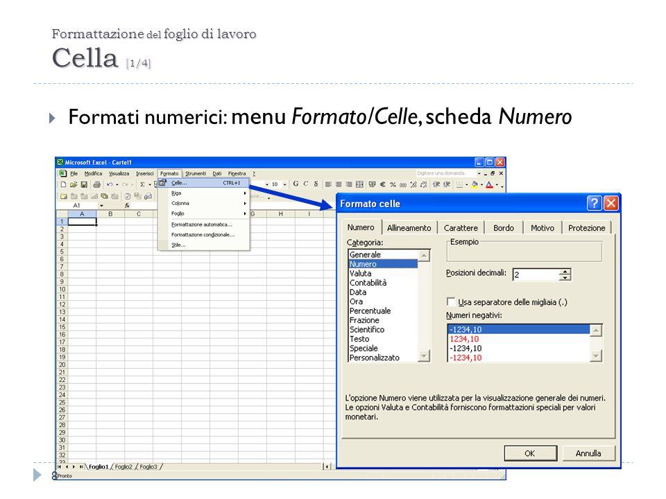 Formule e Funzioni Riferimenti di cella e intervallo [1/2] 19 Operatori: Due punti: identifica lintervallo di celle.