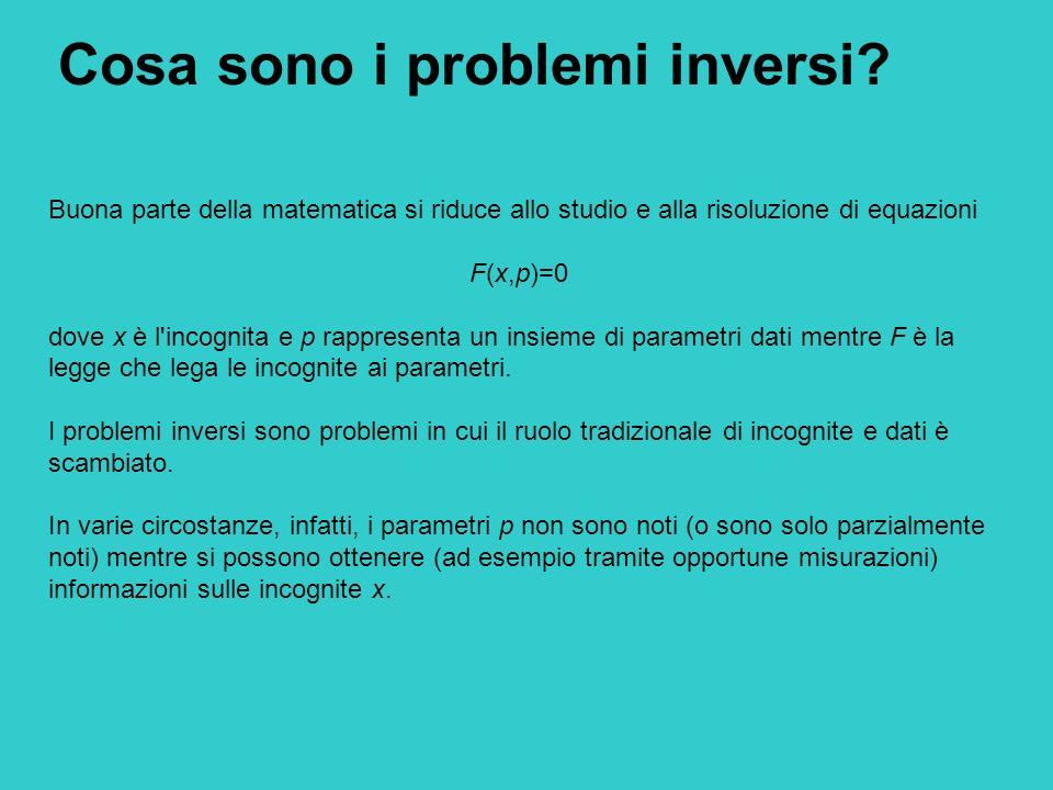 Cosa sono i problemi inversi? Buona parte della matematica si riduce allo studio e alla risoluzione di equazioni F(x,p)=0 dove x è l'incognita e p rap