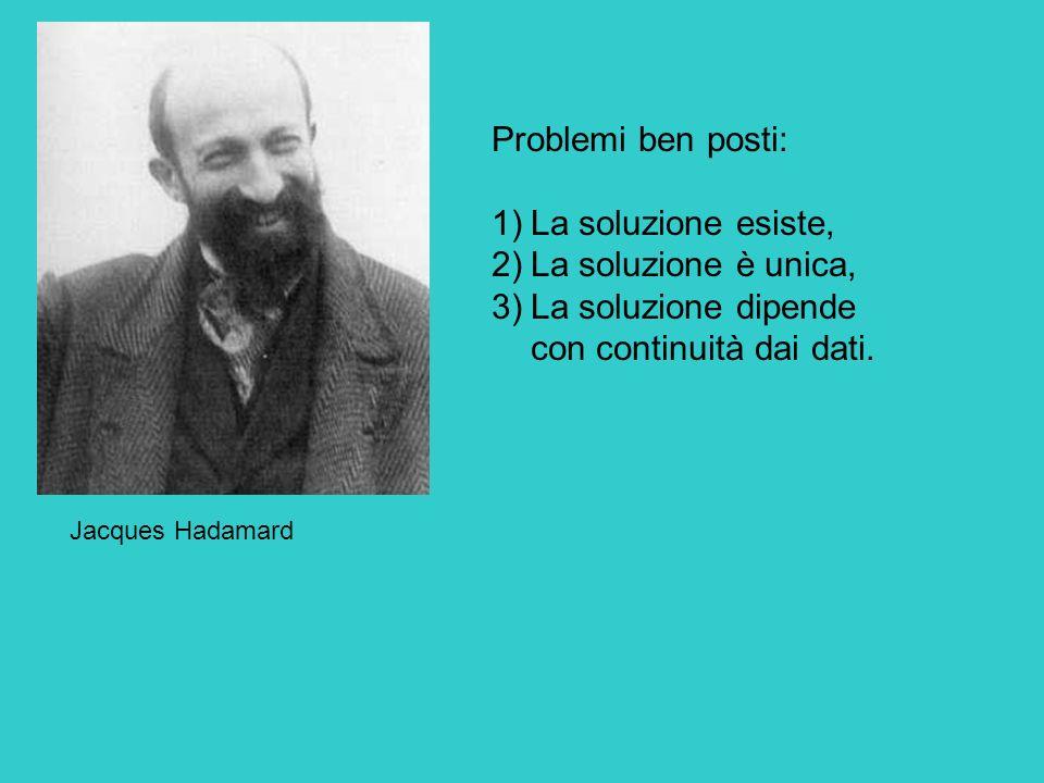 Jacques Hadamard Problemi ben posti: 1)La soluzione esiste, 2)La soluzione è unica, 3)La soluzione dipende con continuità dai dati.