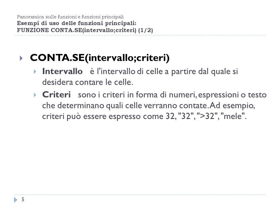Panoramica sulle funzioni e funzioni principali Esempi di uso delle funzioni principali: FUNZIONE CONTA.SE(intervallo;criteri) (1/2) 5 CONTA.SE(interv