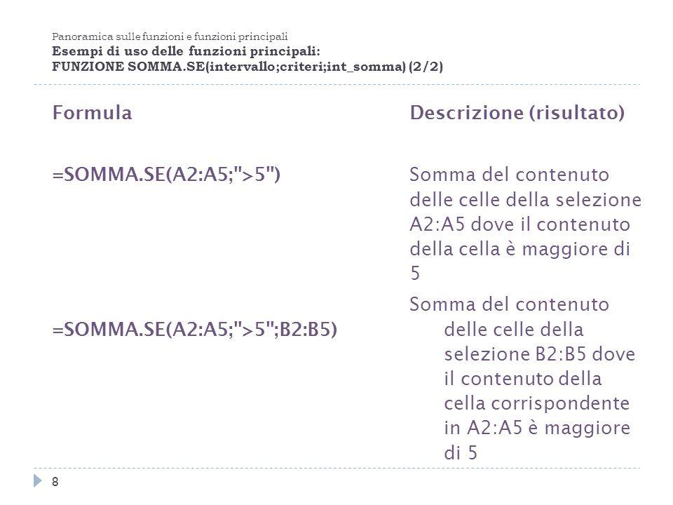Panoramica sulle funzioni e funzioni principali Esempi di uso delle funzioni principali: FUNZIONE SOMMA.SE(intervallo;criteri;int_somma) (2/2) Formula