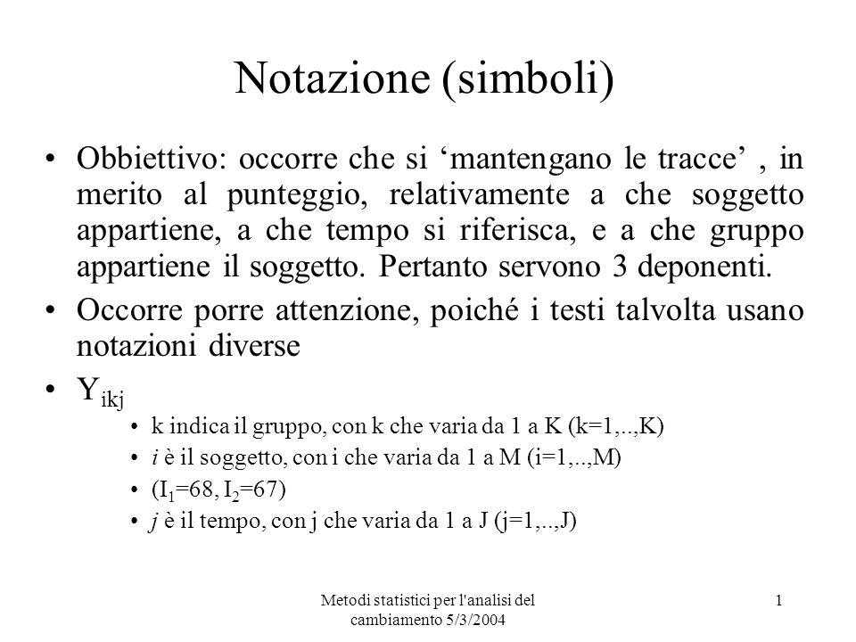 Metodi statistici per l'analisi del cambiamento 5/3/2004 1 Notazione (simboli) Obbiettivo: occorre che si mantengano le tracce, in merito al punteggio
