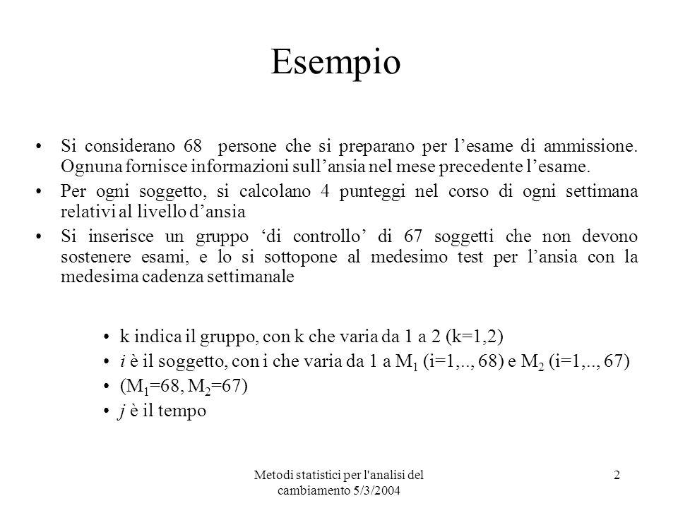 Metodi statistici per l'analisi del cambiamento 5/3/2004 2 Esempio Si considerano 68 persone che si preparano per lesame di ammissione. Ognuna fornisc