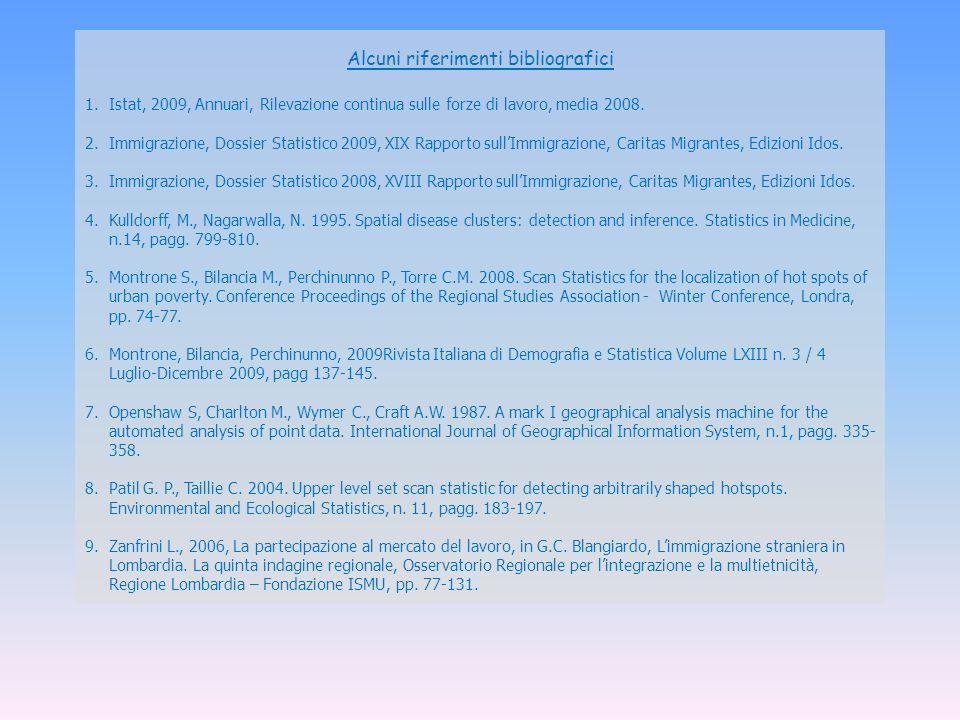 Alcuni riferimenti bibliografici 1.Istat, 2009, Annuari, Rilevazione continua sulle forze di lavoro, media 2008. 2.Immigrazione, Dossier Statistico 20