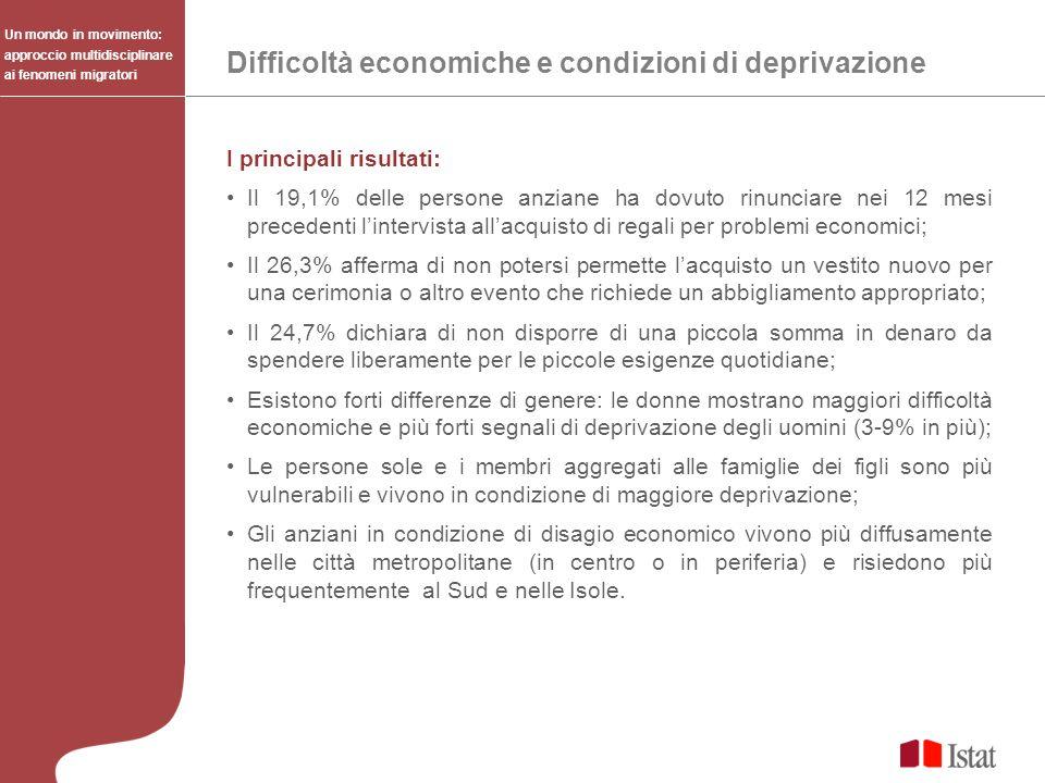 I principali risultati: Il 19,1% delle persone anziane ha dovuto rinunciare nei 12 mesi precedenti lintervista allacquisto di regali per problemi econ