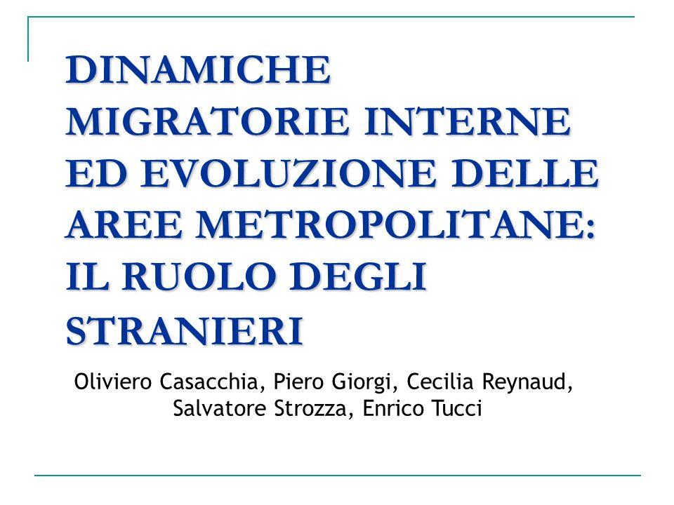 DINAMICHE MIGRATORIE INTERNE ED EVOLUZIONE DELLE AREE METROPOLITANE: IL RUOLO DEGLI STRANIERI Oliviero Casacchia, Piero Giorgi, Cecilia Reynaud, Salva