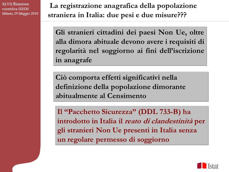 La registrazione anagrafica della popolazione straniera in Italia: due pesi e due misure .