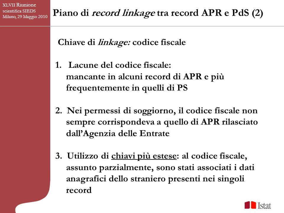 Piano di record linkage tra record APR e PdS (2) XLVII Riunione scientifica SIEDS Milano, 29 Maggio 2010 Chiave di linkage: codice fiscale 1.