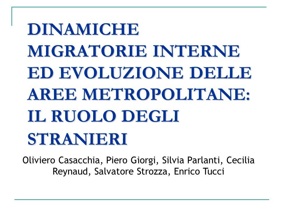 DINAMICHE MIGRATORIE INTERNE ED EVOLUZIONE DELLE AREE METROPOLITANE: IL RUOLO DEGLI STRANIERI Oliviero Casacchia, Piero Giorgi, Silvia Parlanti, Cecil