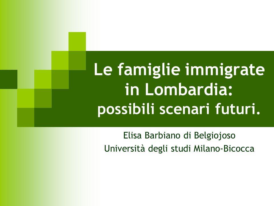 Le famiglie immigrate in Lombardia: possibili scenari futuri. Elisa Barbiano di Belgiojoso Università degli studi Milano-Bicocca