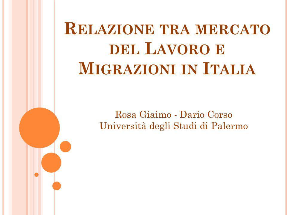 R ELAZIONE TRA MERCATO DEL L AVORO E M IGRAZIONI IN I TALIA Rosa Giaimo - Dario Corso Università degli Studi di Palermo