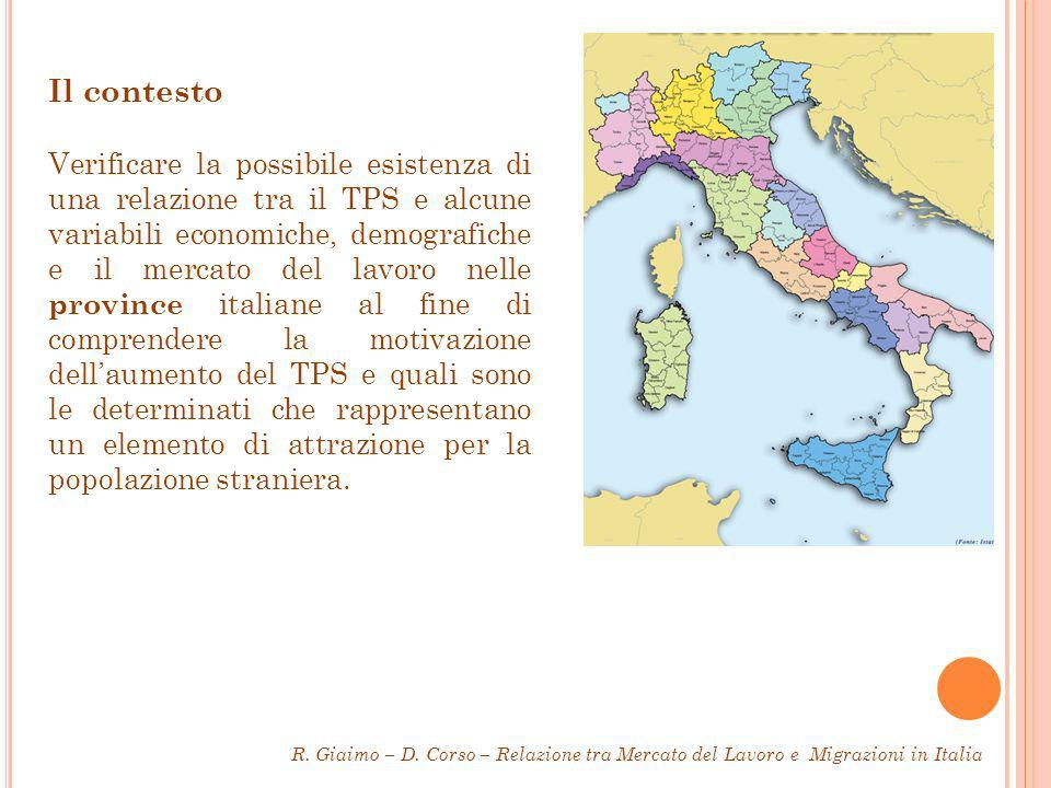 Il contesto Verificare la possibile esistenza di una relazione tra il TPS e alcune variabili economiche, demografiche e il mercato del lavoro nelle province italiane al fine di comprendere la motivazione dellaumento del TPS e quali sono le determinati che rappresentano un elemento di attrazione per la popolazione straniera.