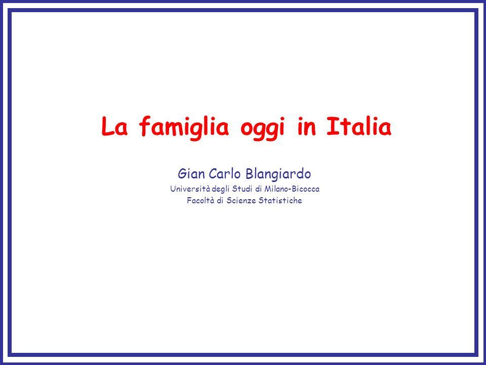 La famiglia oggi in Italia Gian Carlo Blangiardo Università degli Studi di Milano-Bicocca Facoltà di Scienze Statistiche