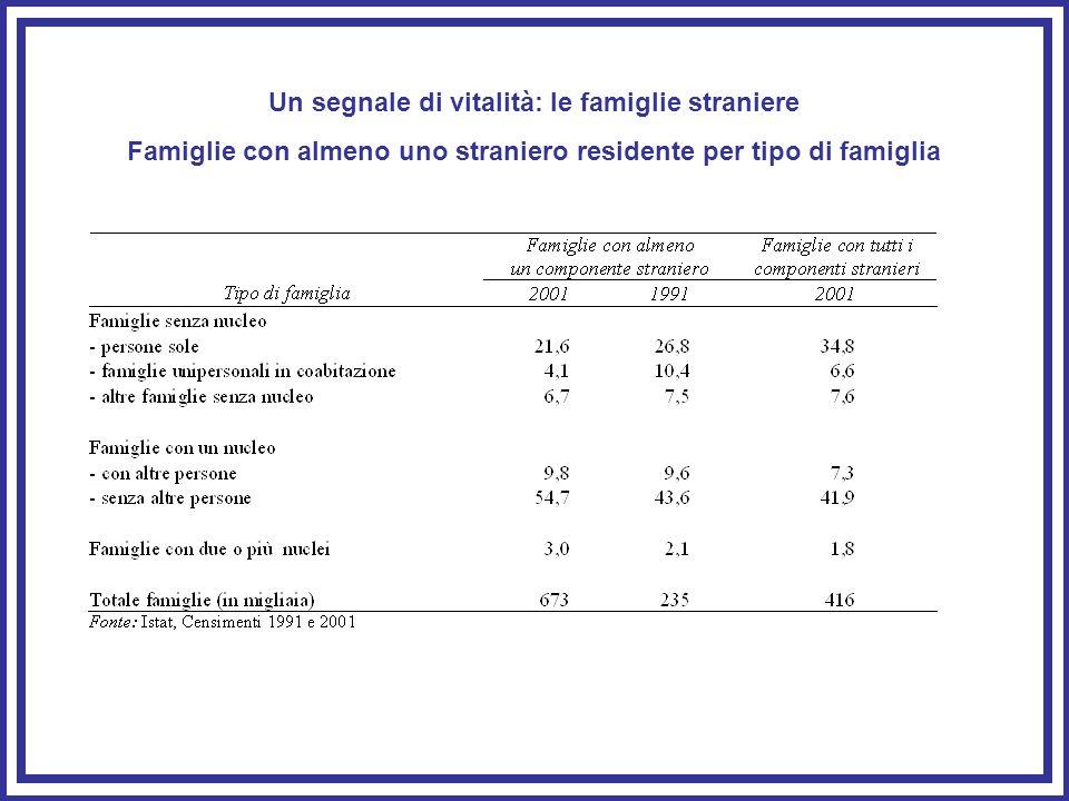 Un segnale di vitalità: le famiglie straniere Famiglie con almeno uno straniero residente per tipo di famiglia