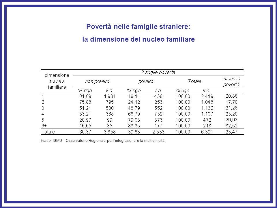Povertà nelle famiglie straniere: la dimensione del nucleo familiare Fonte: ISMU - Osservatorio Regionale per lintegrazione e la multietnicità