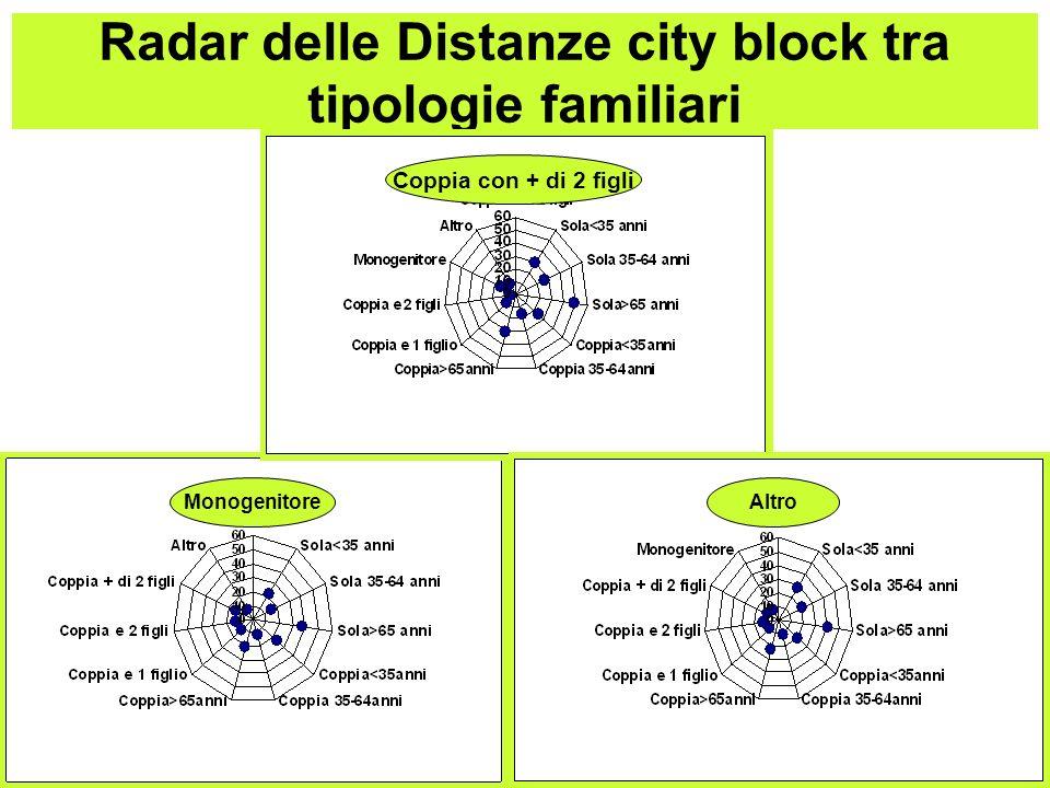 Radar delle Distanze city block tra tipologie familiari Coppia con + di 2 figli Monogenitore Altro