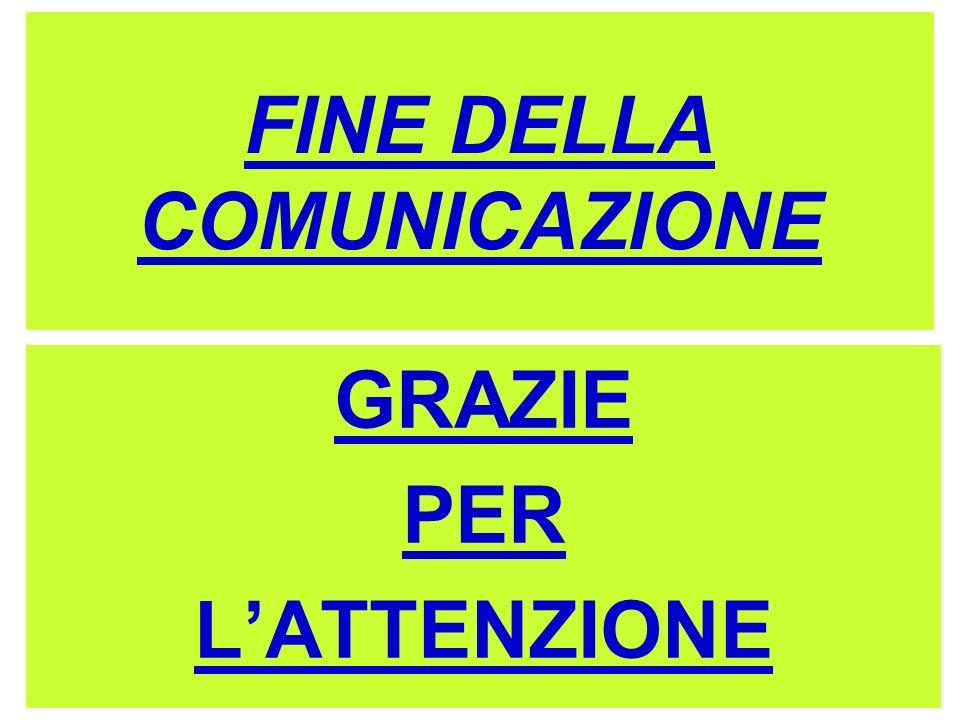 FINE DELLA COMUNICAZIONE GRAZIE PER LATTENZIONE