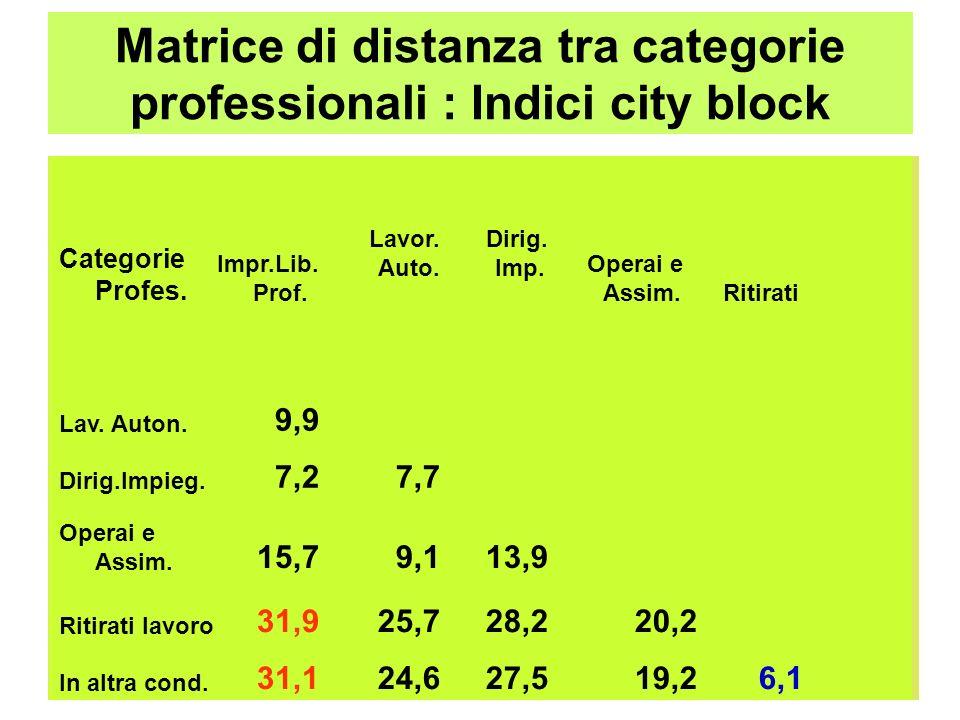 Matrice di distanza tra categorie professionali : Indici city block Categorie Profes. Impr.Lib. Prof. Lavor. Auto. Dirig. Imp. Operai e Assim. Ritirat