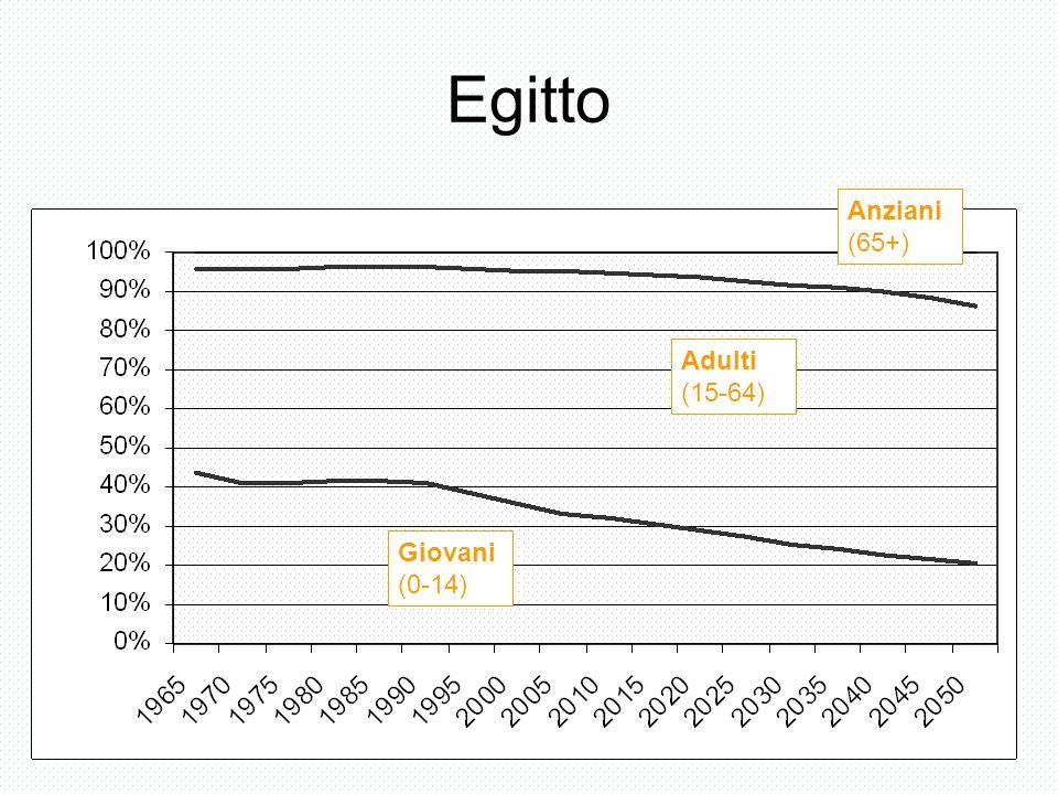 Egitto Giovani (0-14) Adulti (15-64) Anziani (65+)
