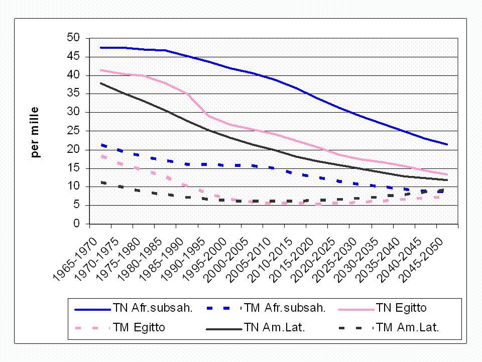 Africa sub-sahariana Giovani (0-14) Adulti (15-64) Anziani (65+)