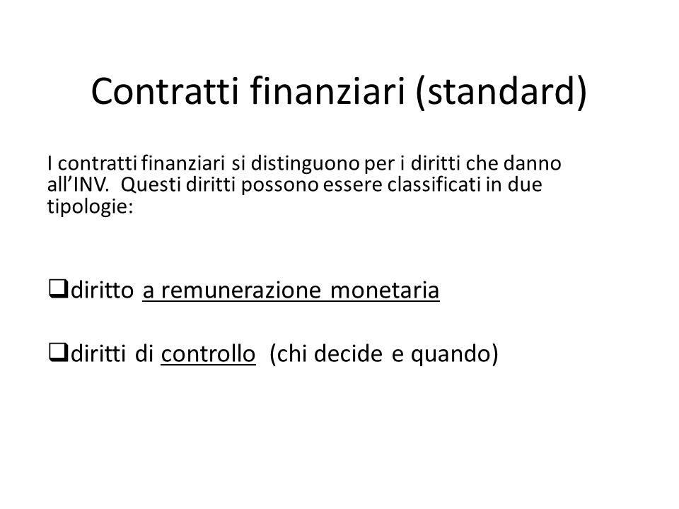 Contratti finanziari (standard) I contratti finanziari si distinguono per i diritti che danno allINV.