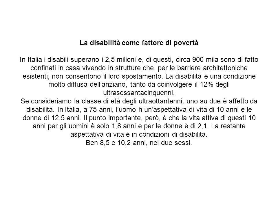 La disabilità come fattore di povertà In Italia i disabili superano i 2,5 milioni e, di questi, circa 900 mila sono di fatto confinati in casa vivendo in strutture che, per le barriere architettoniche esistenti, non consentono il loro spostamento.