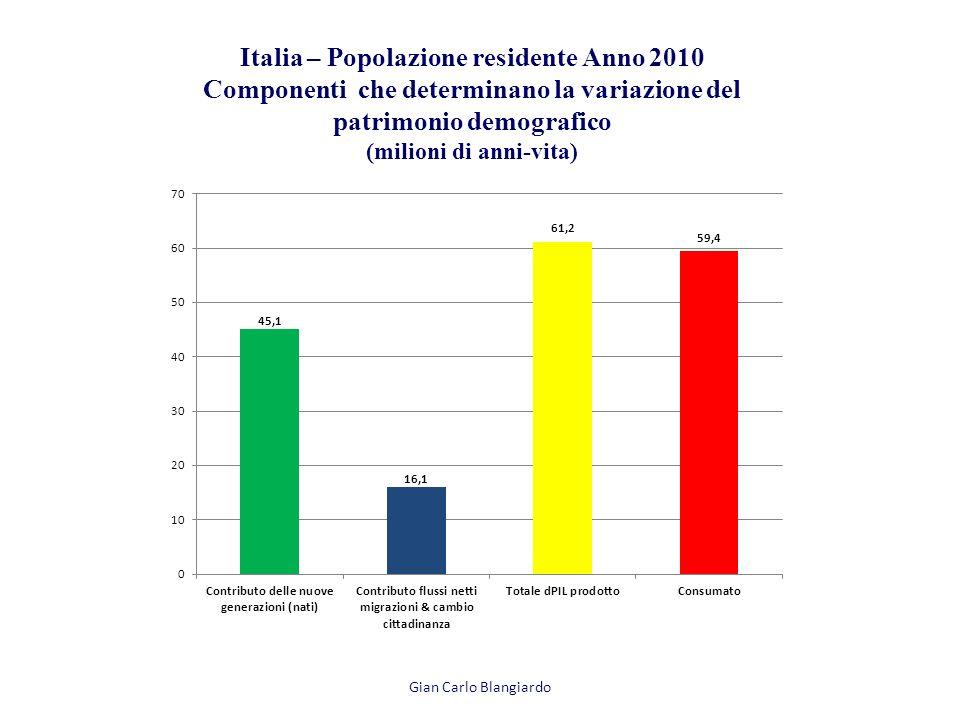 Italia – Popolazione residente Anno 2010 Componenti che determinano la variazione del patrimonio demografico (milioni di anni-vita) Gian Carlo Blangiardo