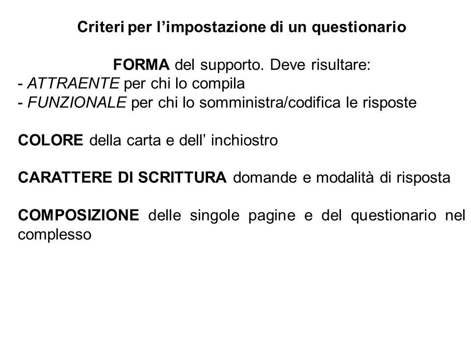 Criteri per limpostazione di un questionario FORMA del supporto. Deve risultare: - ATTRAENTE per chi lo compila - FUNZIONALE per chi lo somministra/co