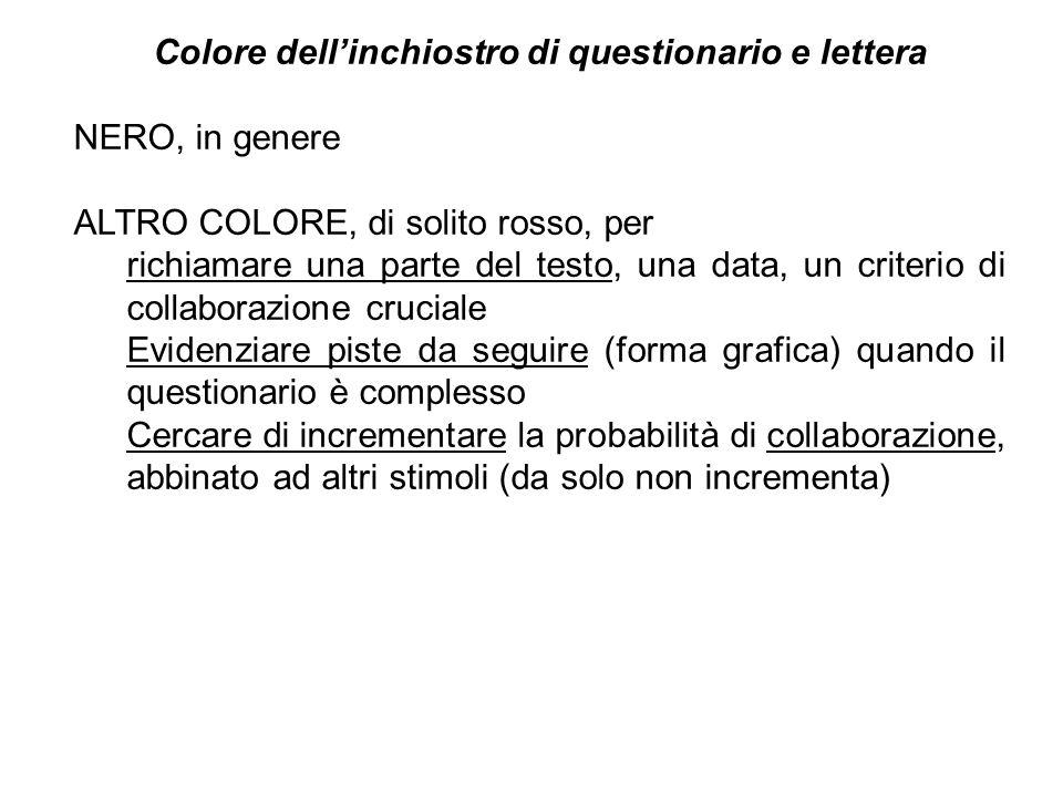 Colore dellinchiostro di questionario e lettera NERO, in genere ALTRO COLORE, di solito rosso, per richiamare una parte del testo, una data, un criter
