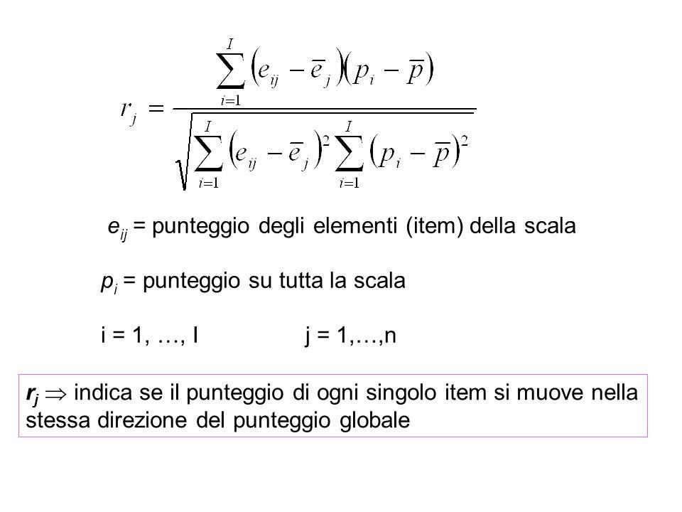 e ij = punteggio degli elementi (item) della scala p i = punteggio su tutta la scala i = 1, …, Ij = 1,…,n r j indica se il punteggio di ogni singolo i