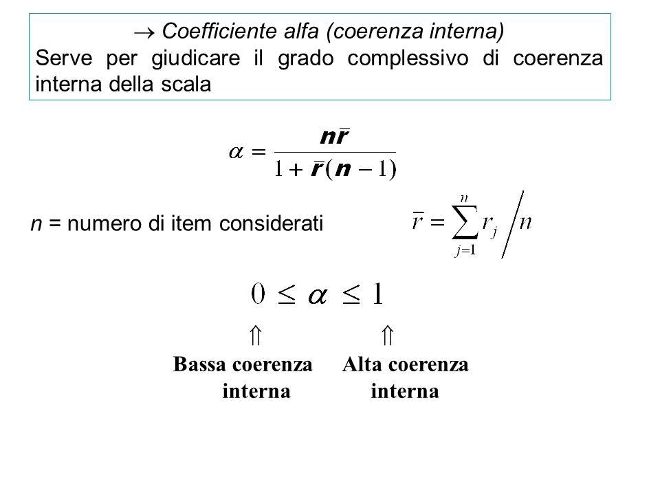 Coefficiente alfa (coerenza interna) Serve per giudicare il grado complessivo di coerenza interna della scala Bassa coerenza Alta coerenza interna int